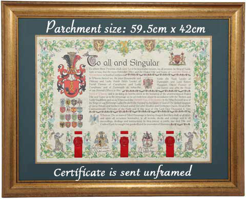 Seated Title certificate in a frame