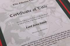 Elite Title certificate