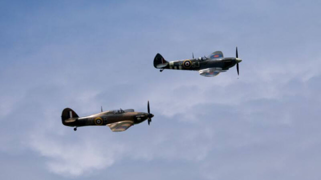 RAF World War 2 Spitfire and Hurricane flying in formation