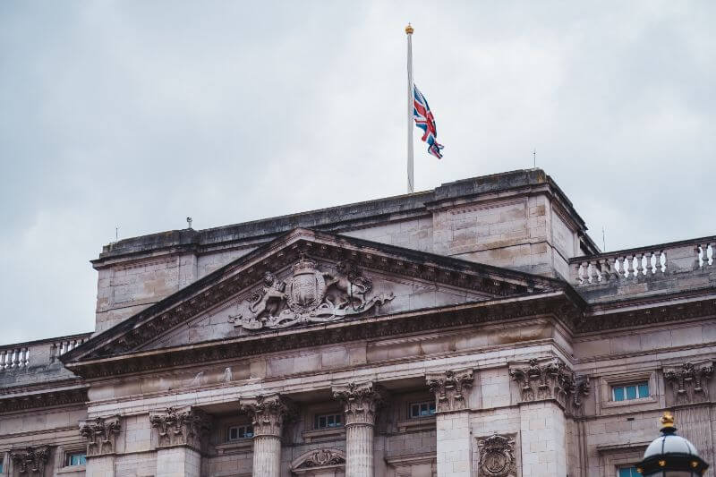 Buckingham Palace Union Flag flying at half-mast - a tribute to Prince Philip